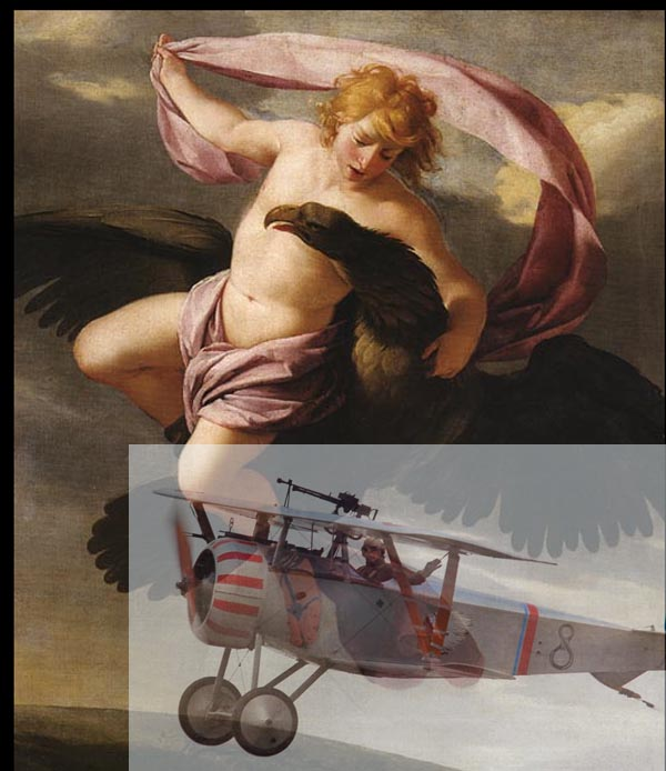 Ganymede (by Eustache Le Sueur) and WWI French plane