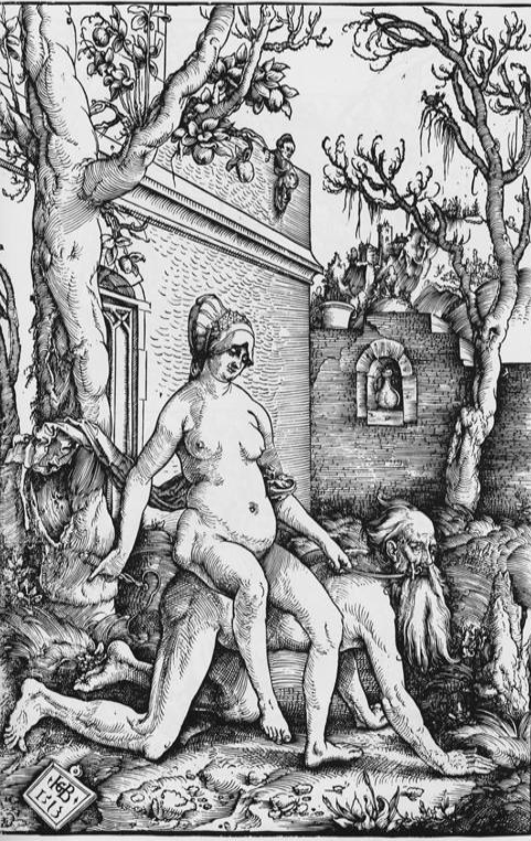 Phyllis Riding Aristotle by Hans Baldung Grien, 1513