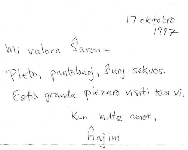 Chaim's Esperanto letter to me.